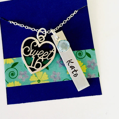 Sweet Sixteen Necklace,16th Birthday Necklace, Sweet Sixteen Gift, Sweet Sixteen Gift
