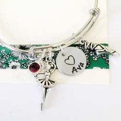 Ballerina Bracelet,Adjustable Bangle Bracelet, Dancer Bracelet,  Personalized Name Bracelet, Girls Bracelet, Dance Recital