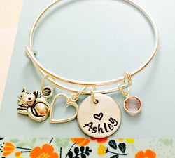 Cat Name Bracelet, Personalized Cat Bracelet, Cat Jewelry, Little Girls Bracelet, Young Girl