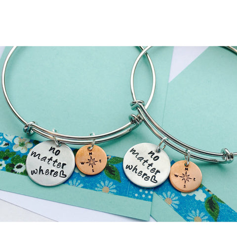 No Matter Where Bracelet, No Matter Where Bangle Bracelet, Best Friends Bracelet,  Friend Bracelet Adjustable Bracelet, Bangle Bracelet Set