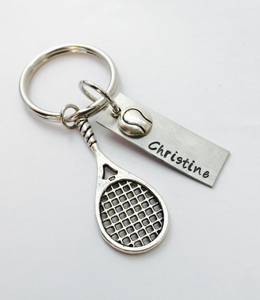Tennis Keychain, Tennis Racket, Tennis Player Jewelry, Play Tennis, Coach Gift, Tennis Player Gift, Tennis Charm Keychain
