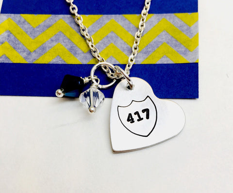 Badge number necklace