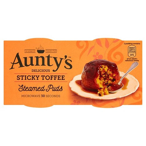 Auntys Sticky Toffee Puddings 2 X 95G - British Food Supplies