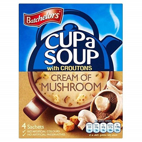 Batchelors Cup a Soup with Croutons Cream of Mushroom (4 per pack - 99g) - (Pack of 6) - British Food Supplies
