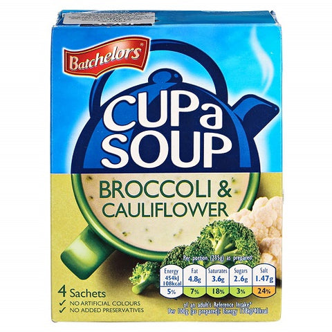 Batchelors Cup a Soup Creamy Broccoli & Cauliflower (4 per pack - 101g) - PACK OF 2