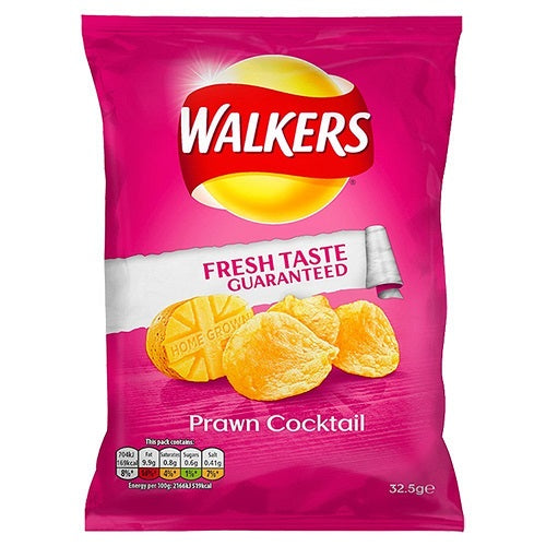 Walkers Crisps - Prawn Cocktail (32.5g) - Pack of 6