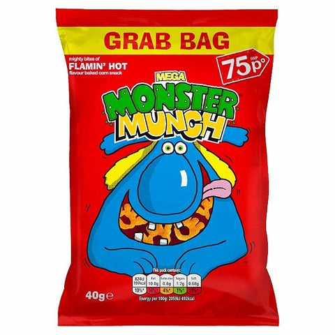 Mega Monster Munch Grab B ag Flamin Hot Flavour Baked Corn Snack (40g x 30)