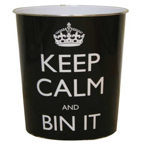 Keep Calm Waste Bin (Black) Pack of 2