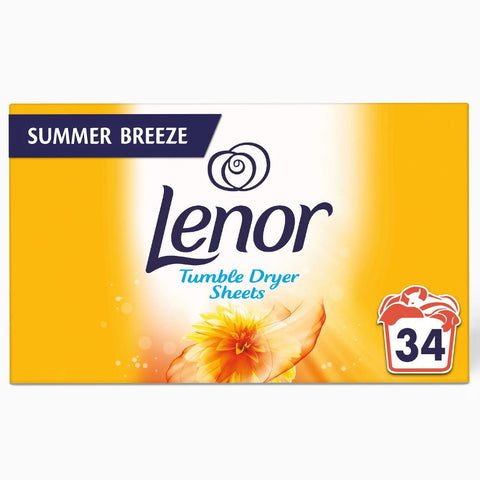 Lenor Tumble Dryer Sheets Summer Breeze 34 Sheets (Pack of 3)