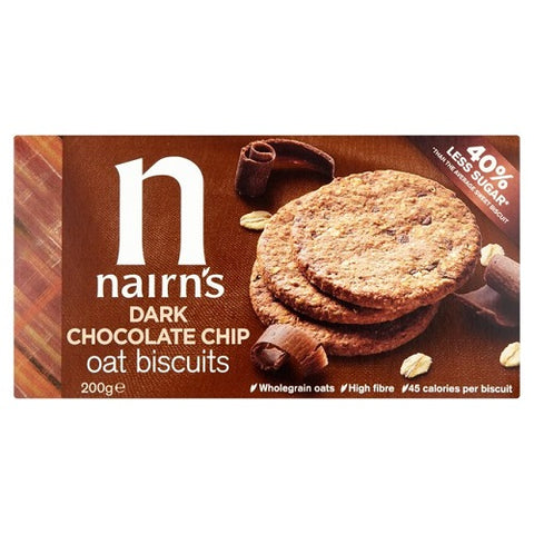 Nairns Dark Chocolate Chip Oat Cookies,  7.1-Ounce (Pack of 4)