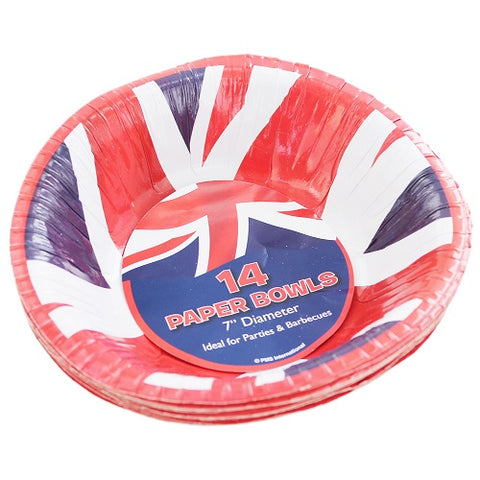 "7"" Pack Of 14 Union Jack Paper Bowls - British Food Supplies"