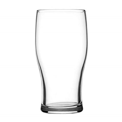 Beer Glasses. British Tulip Style Imperial Pint Beer Glass with Etched Seal. Pack of 4