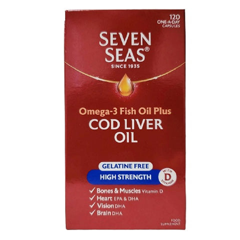 (4 PACK) - Seven Seas Cod Liver Oil Capsules - High Strength | 120s | 4 PACK - SUPER SAVER - SAVE MONEY