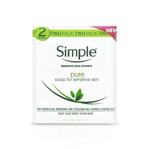 Simple Pure Soap for Sensitive Skin Twin Pack, Pack of 2 (4 Bars)