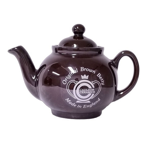 Traditional Rockingham Brown Betty 2 Cup Teapot With Lithograph