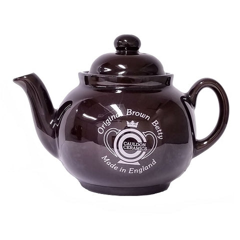 Traditional Rockingham Brown Betty 4 Cup Teapot With Lithograph
