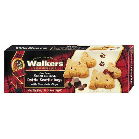 "Walkers""Dottie"" Chocolate Chip Scottie Dog Shortbread 3.9oz (Pack of 3)"