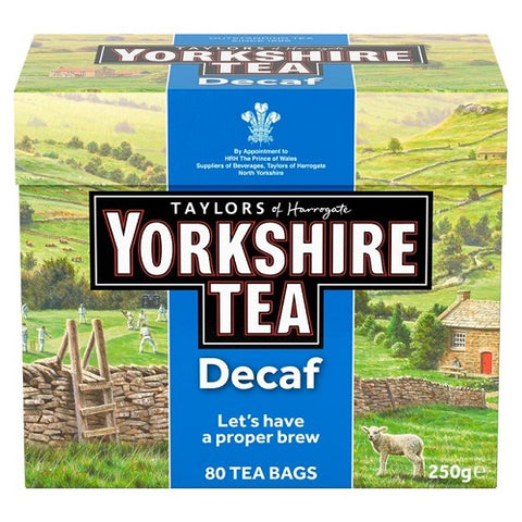 3 X Yorkshire Decaffeinated Tea, 80 Teabags - British Food Supplies