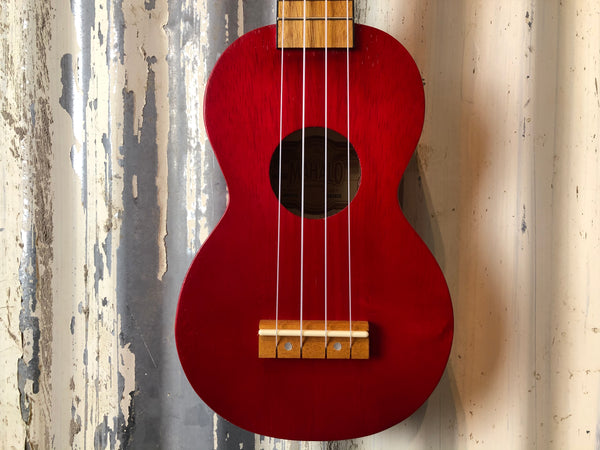Mahalo Kahiko Soprano Ukulele Red with Case