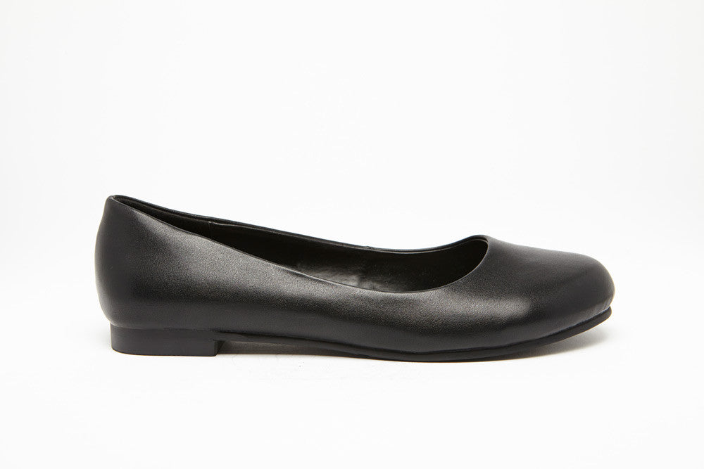 ROUND TOE FLAT Black 0.5 inch heel Uniform Standard Shoe