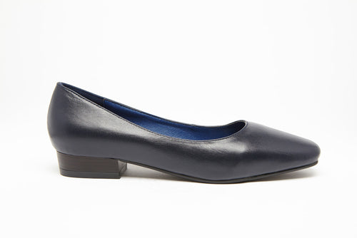 SQUARE TOE FLAT Navy 1 inch heel Uniform Standard Shoe