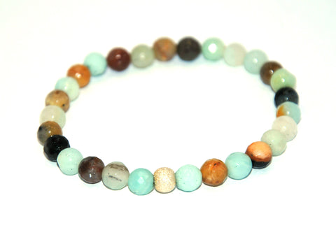 Faceted Amazonite Stone Bracelet 6 mm