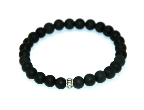 Frosted Black Agate Stone Bracelet 6 mm