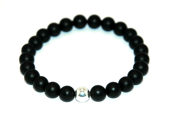 Frosted Black Agate Stone Bracelet 8 mm