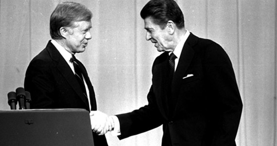 Pres. Carter and R. Reagan shaking hands