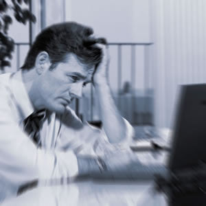 Man Stressed Over Work