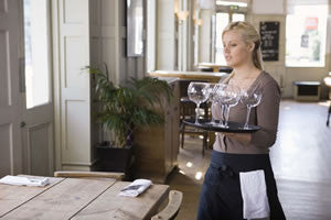 Waitress with Wine Glasses