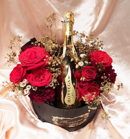 D Red Rose Wine Romance (Bottega Prosecco Gold Brut Champagne)