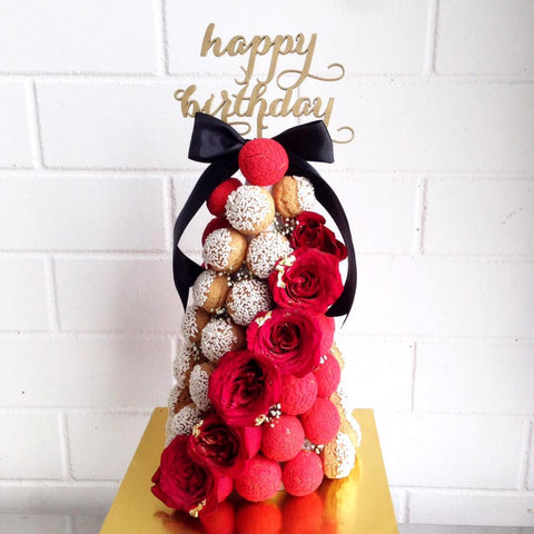 Birthday Croquembouche Tower (Black & Red)