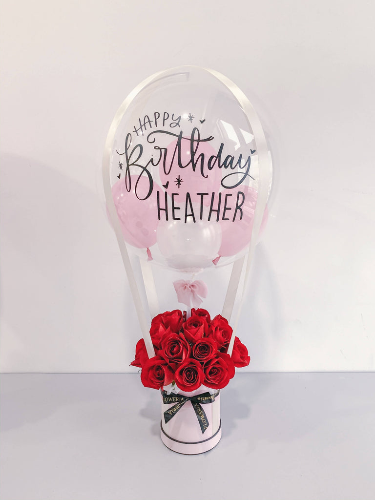Hot Air Balloon And Flower Bouquet Roses Giftr Malaysia S Leading Online Gift Shop