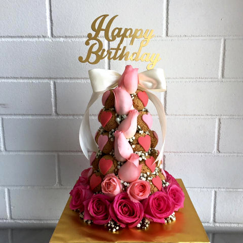Heart Shaped Birthday Croquembouche Tower (Pink)