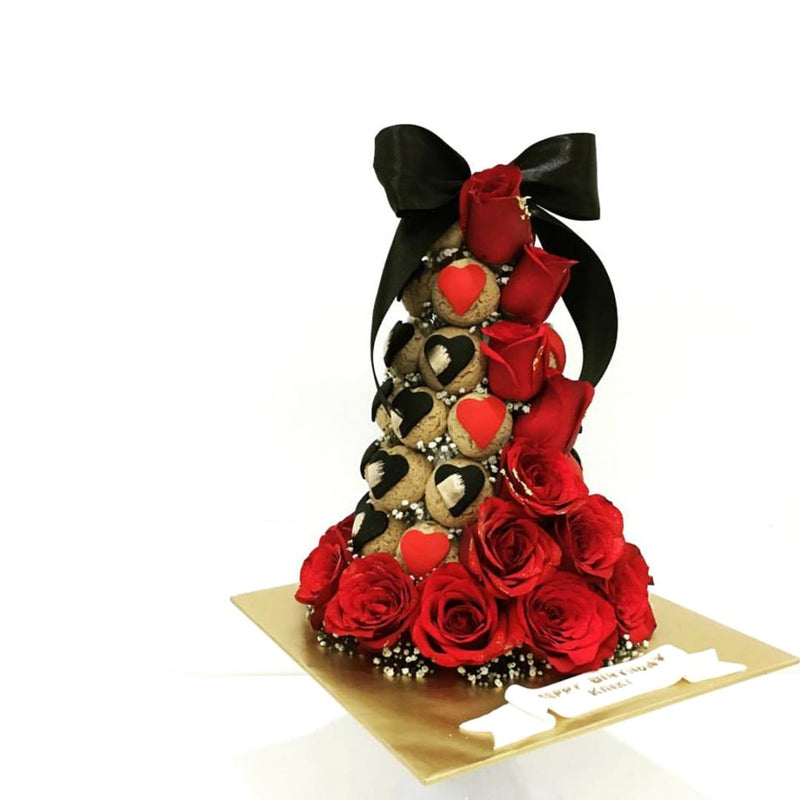 Heart Shaped Croquembouche Tower (Black & Red)