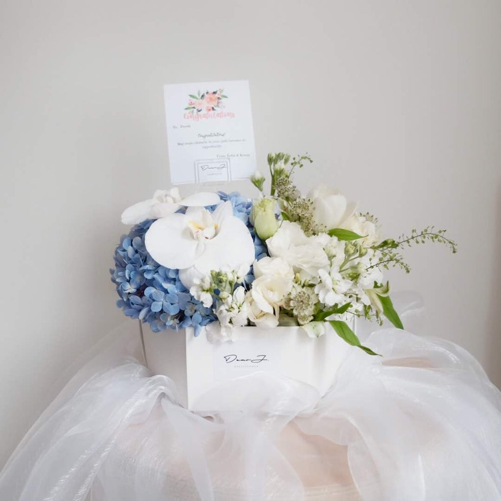 White Themed Mixed Hydrangea Flower Box