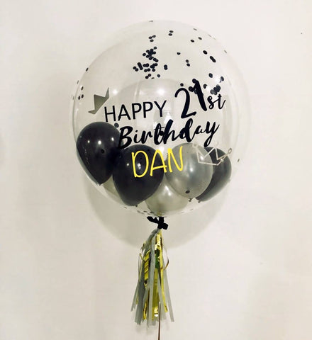 "Single 24"" Bubble With Mini Balloons in Black & Silver"