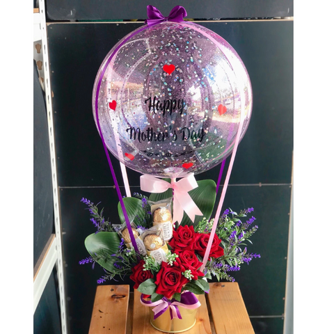 Hot Air Balloon with Artificial Flowers and Ferrero Roche