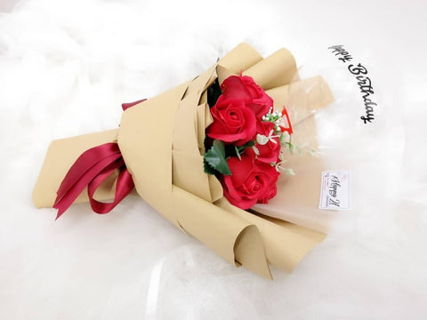 Red Soap Roses With Transparent Balloon Bouquet