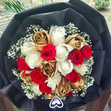 Gold Mixed Red & White Roses Bouquet