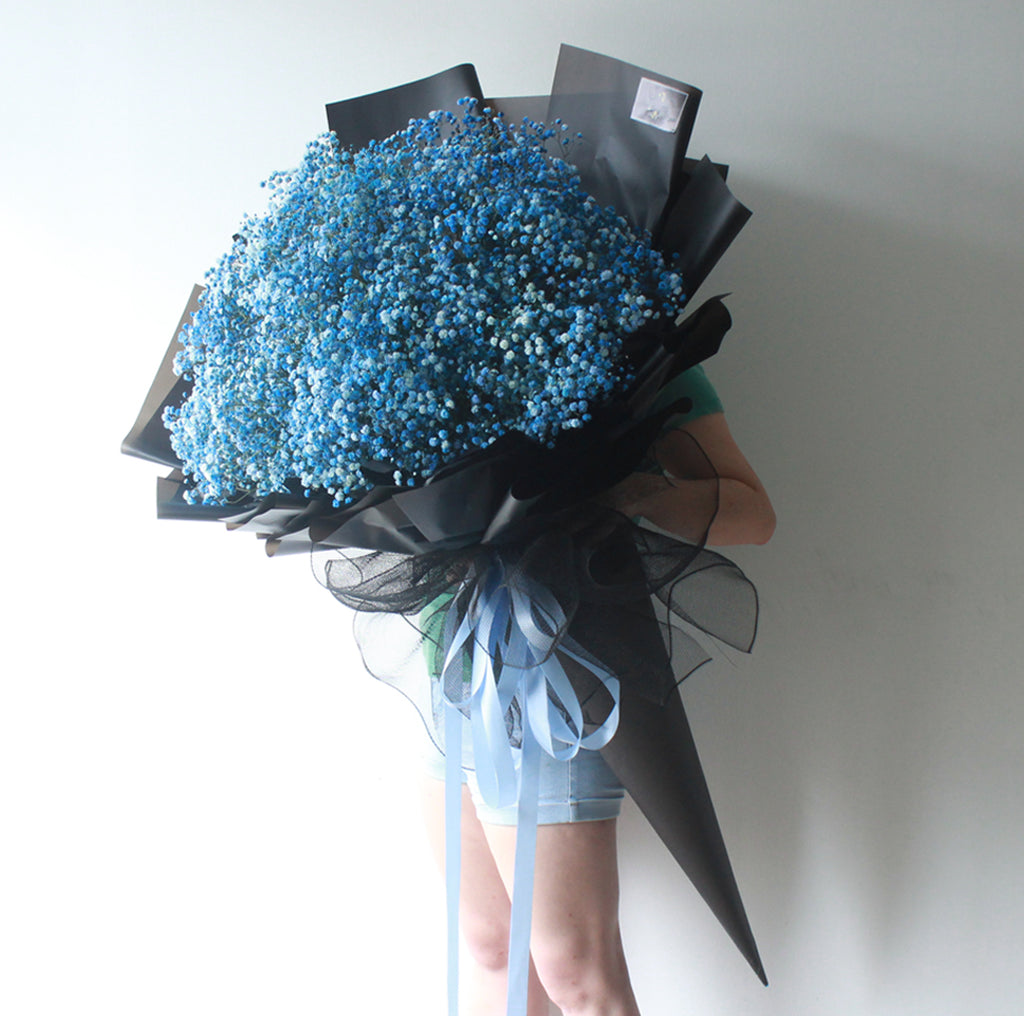 Baby Blue Flower Bouquet Giftr Malaysia S Leading Online Gift Shop