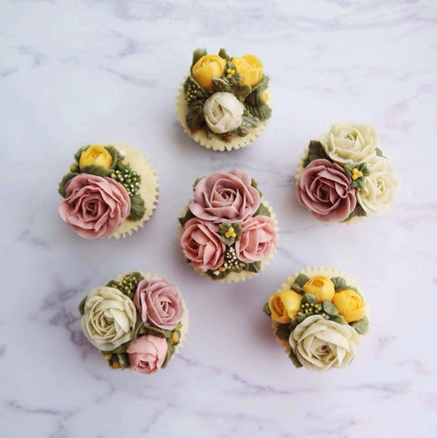 Shades of Pink & Yellow Flower Buttercream Cupcakes (12 Cupcakes)