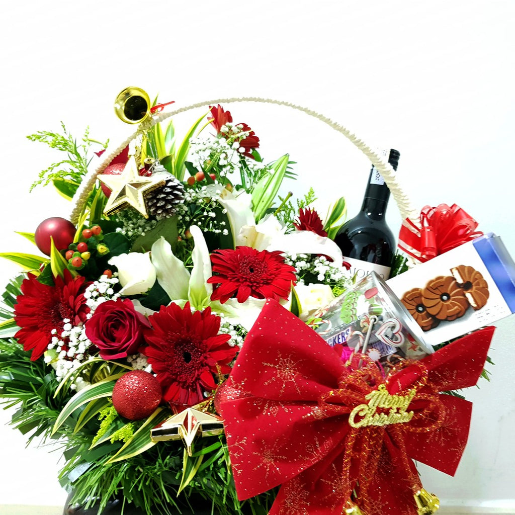 Merry Christmas Gift Basket (Wine, Chocolates, Candies & Flowers)