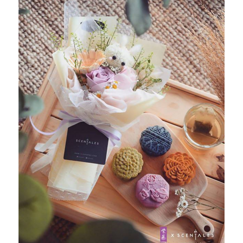 [Scentales x Purple Cane] Bun Bun Rabbit Flower & Mooncake Set (White Tea Purple Potato Paste)