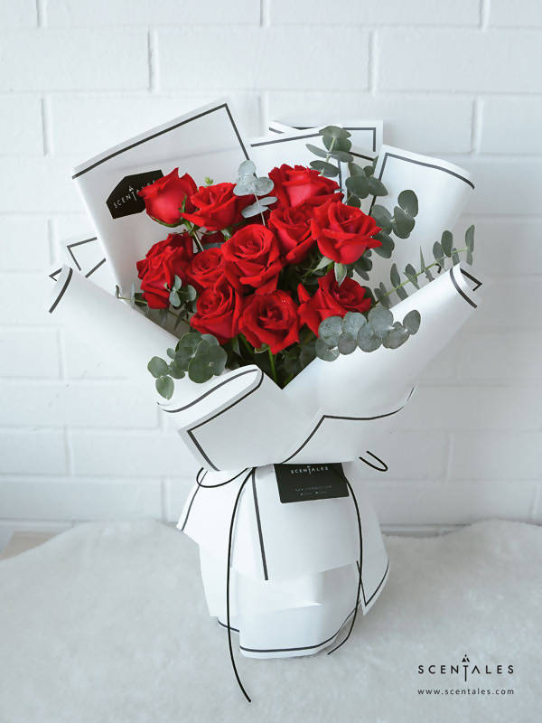 Minimalist Red Roses - White (Black Line)