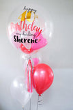 LED Personalised 'Happy Birthday' Bubble Balloon with Latex Balloon Set