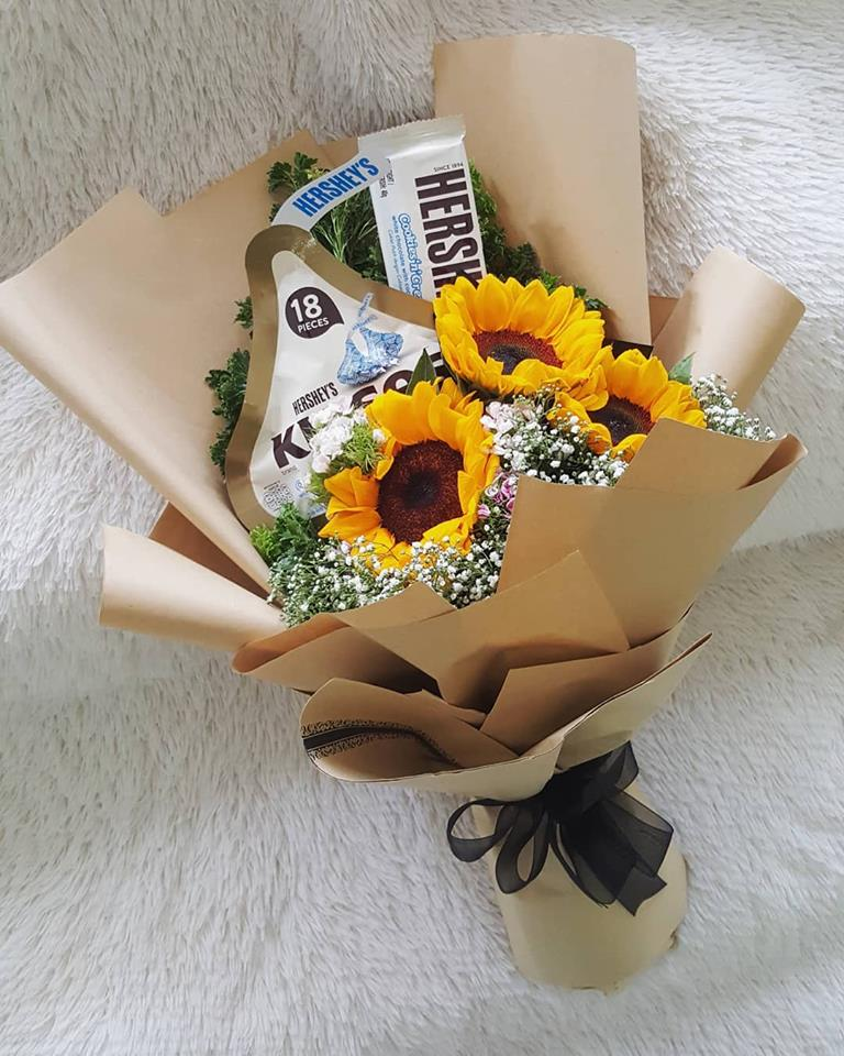Sunflowers and Hershey's Chocolate Bouquet
