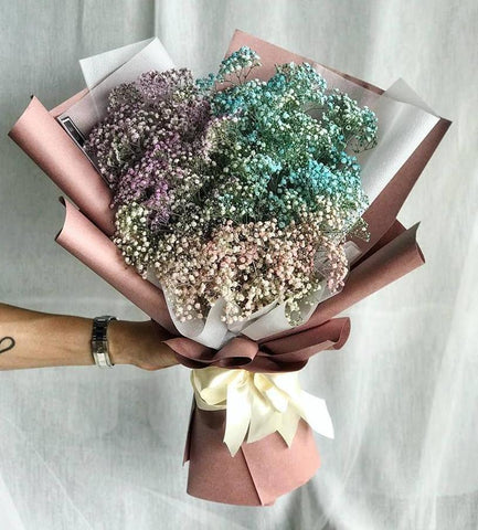 Misty Magic Colourful Baby Breath Bouquet (Ipoh Delivery Only)