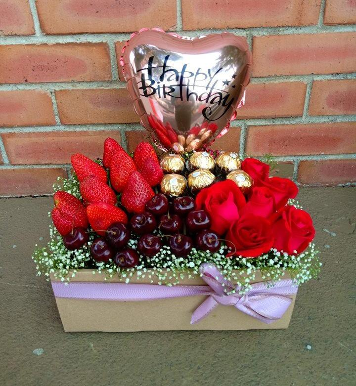 Cherry, Strawberry, Ferrero & Roses Gift Box